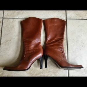 Cognac Brown Leather Boots